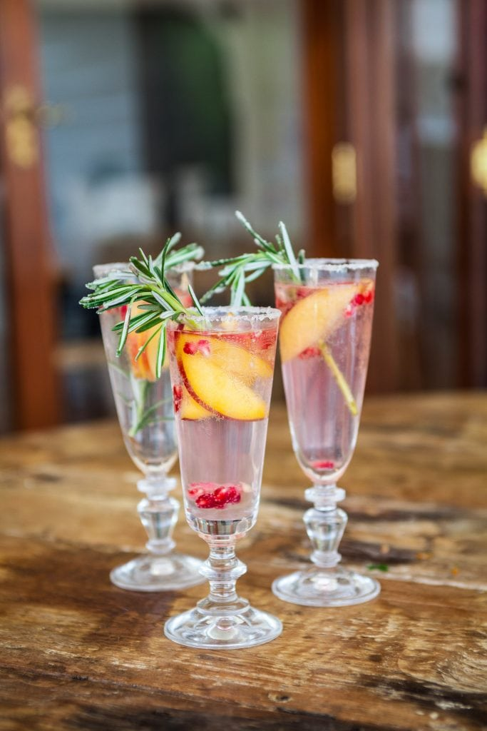 Recipe Christmas Peach Cranberry Rosemary Prosecco