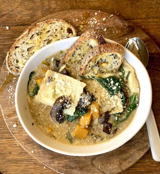 Recipe Ravioli Mushroom Pumpkin Parmesan Soup01