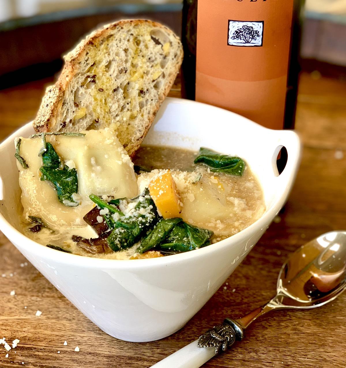 Recipe Ravioli Mushroom Pumpkin Parmesan Soup02