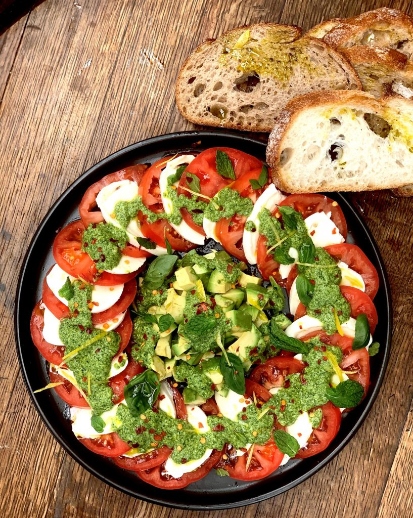 Recipe Mint Pesto Heirloom Tomato Avocado Caprese Salad01