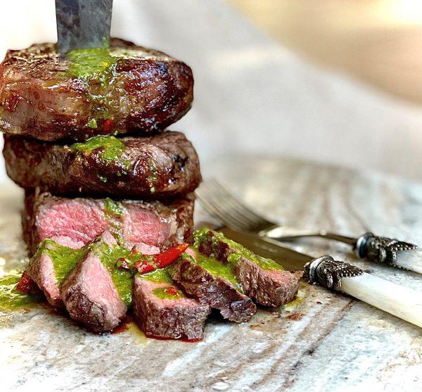 Recipe Reverse Seared Scotch Roast Steak With Chimichurri Sauce01
