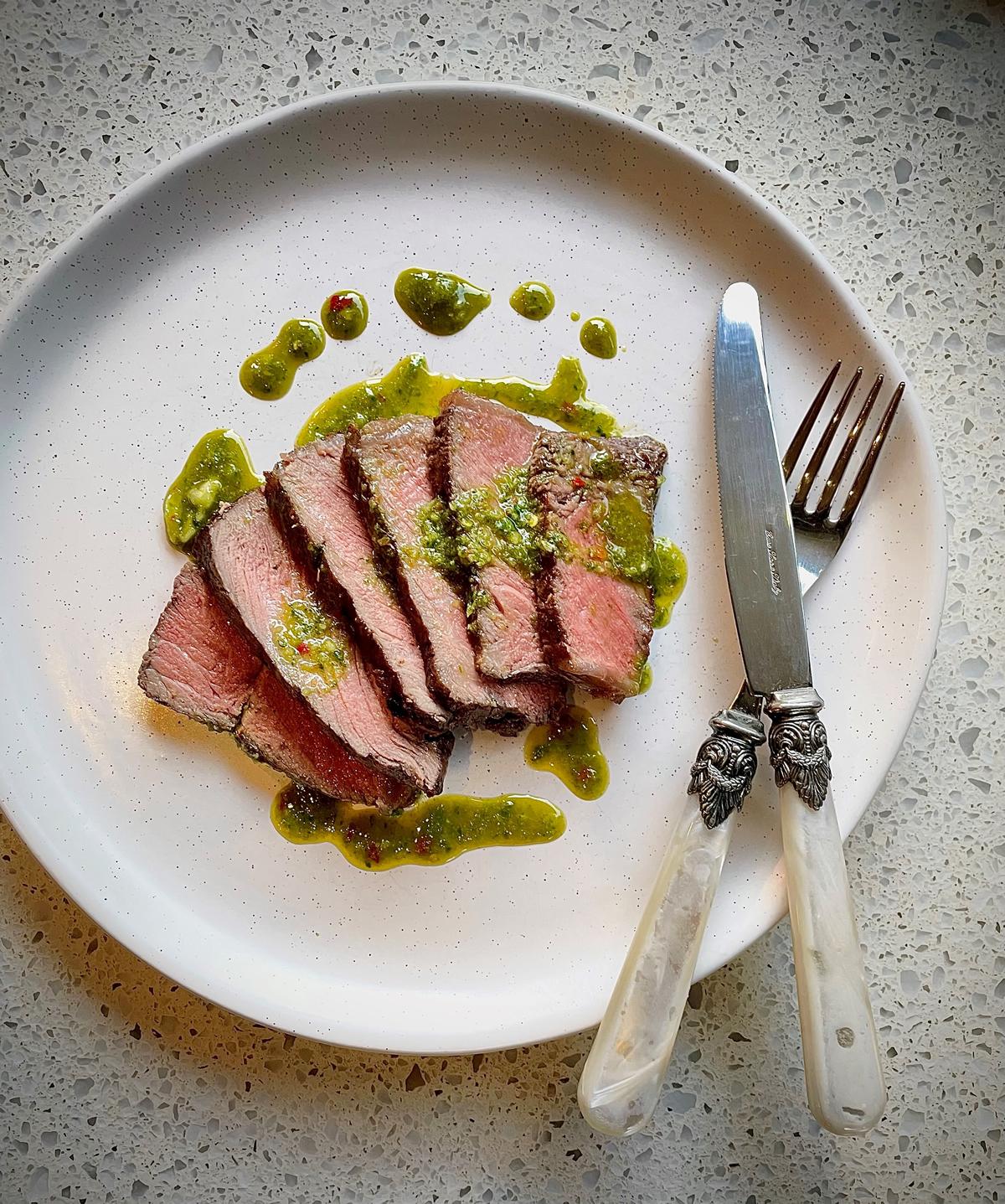 Recipe Reverse Seared Scotch Roast Steak With Chimichurri Sauce02